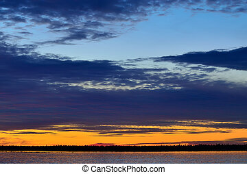 Sunset in pastel colors. White sea, Russia