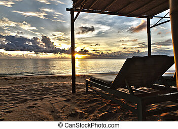 Sunset in Phu Quoc close to Duong Dong with sun bed, South ...