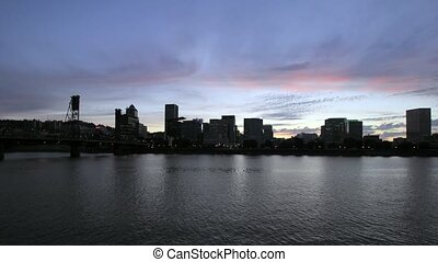 Sunset in Portland Oregon - Sunset into Blue Hour Along...