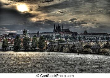 Sunset in Prague - Beautiful dramatic sunset over Prague...