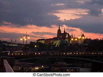 Sunset in Prague.