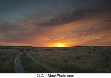 Sunset in Prairie - Dramatic sunset at Pawnee National ...