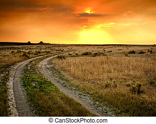 Sunset in Prairie - Dramatic sunset at Pawnee National ...