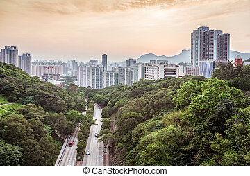 Sunset in residential area of Hong Kong