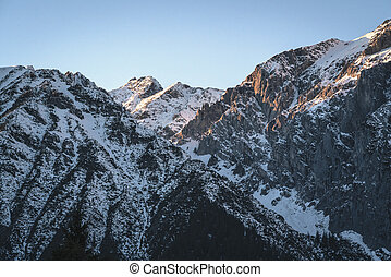 Sunset in rocky mountains of Austrian Alps in Mieming, Tyrol, Austria