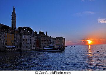 Sunset in Rovinj, Istria, Croatia