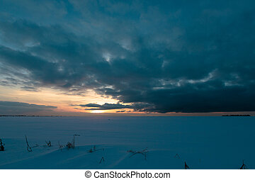 Sunset in Russia in winter season.