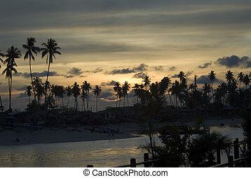 An evening sunset on the island of Mabul, Sabah, Borneo