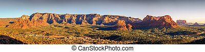 Panoramic view of Red Rock formations from airport Mesa in Sedona, Arizona