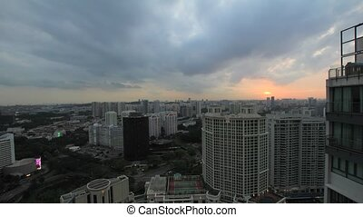 Sunset in Singapore City Timelapse