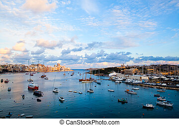 Sunset in Sliema, Malta - Beautiful sunset in winter, Sliema...
