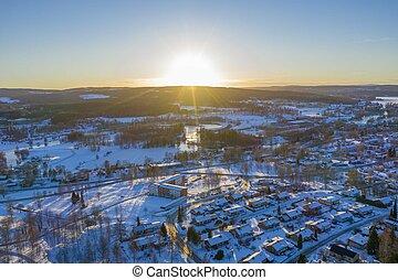 Sunset in Smedjebacken drone photo