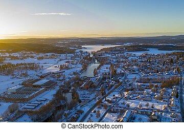 Sunset in Smedjebacken in winter