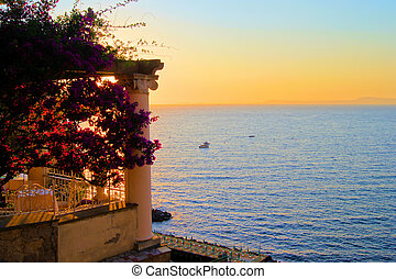 Sunset in Sorrento - View from Sorrento, Italy at dusk from...