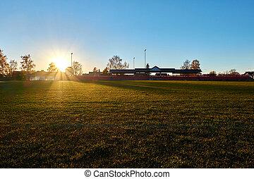 sunset in stadium