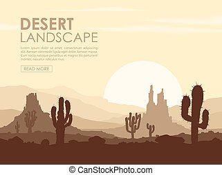 Sunset in stone desert with cactuses