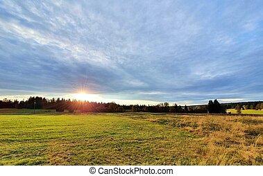 Sunset in Sumava National Park.