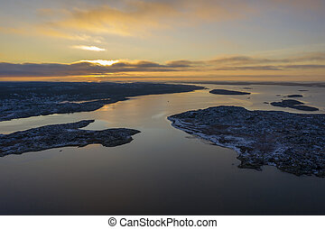 Sunset in Sweden drone photo