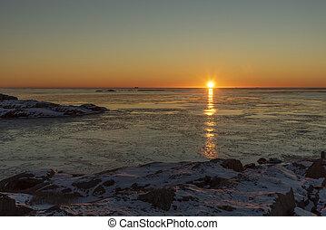 Sunset in Sweden in winter