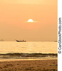Sunset In Thailand With Sea And Longtail Boat