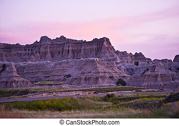 Sunset in the Badlands National Park. Late Spring in the Badlands. nature Photo Collection.