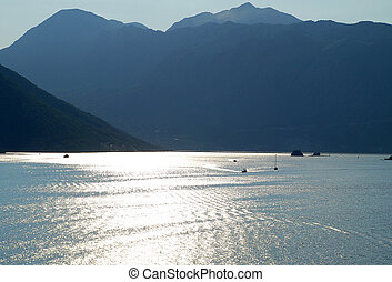 Sunset in the bay of Kotor, Montenegro