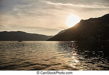 Sunset in the Bay of Kotor. Montenegro.