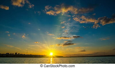 Sunset in the bay, time lapse, night sky, video loop,
