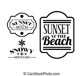 sunset in the beach with blur background icon design