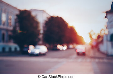 Sunset in the city, blurred background