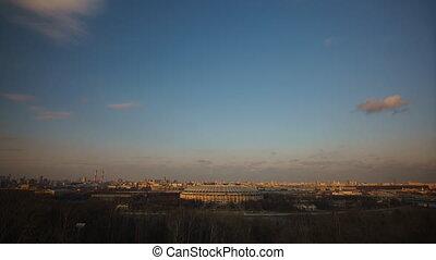 Sunset in the city overlooking the Luzhniki, urban night...