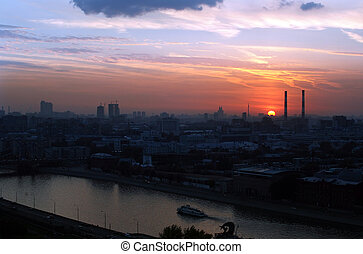 Sunset In The City - Sunset overlooking the city Moscow
