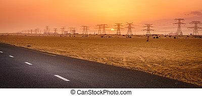Sunset in the desert near Dubai