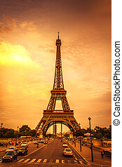 Sunset in the Eiffel Tower