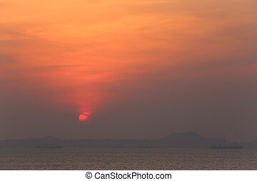 Sunset in the evening near the seaside Thailand.