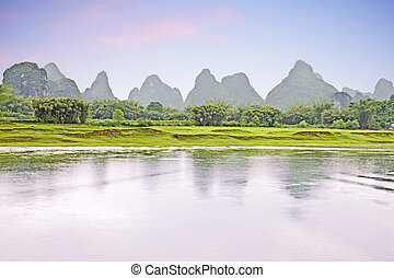 Sunset in the famous river Li, China