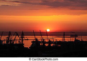 Sunset in the harbor of Odessa, Ukraine