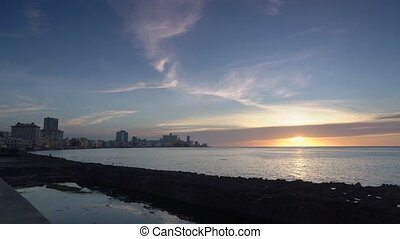 Sunset in the Malecon of Havana