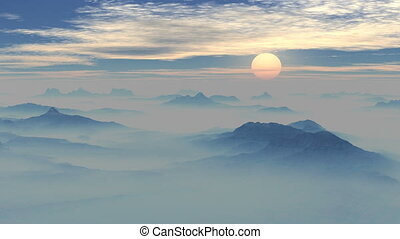 Sunset in the misty mountains