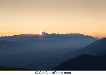 Sunset in the mountain landscape