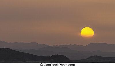 sunset in the mountainous desert