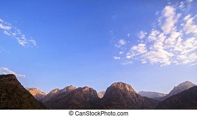 Sunset in the mountains. Time Lapse. Pamir, Tajikistan