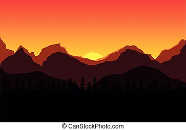 Sunset in the mountains. Vector illustration