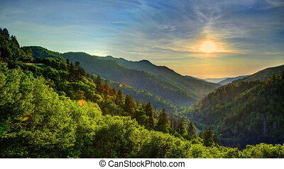 Newfound Gap - Sunset in the Newfound Gap of The Great Smoky...