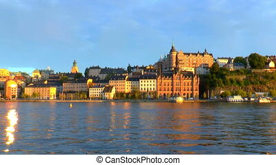 Sunset in the Old Town in Stockholm, Sweden - Scenic summer...