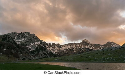 sunset in the picturesque mountains, time lapse