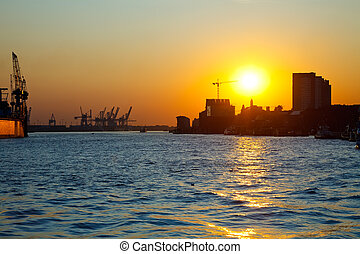 Sunset in the port of Hamburg