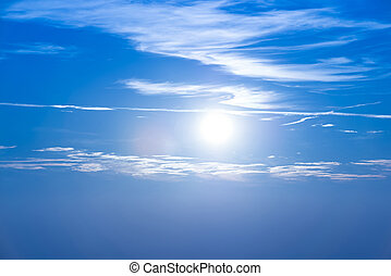 Sunset in the sky with blue clouds