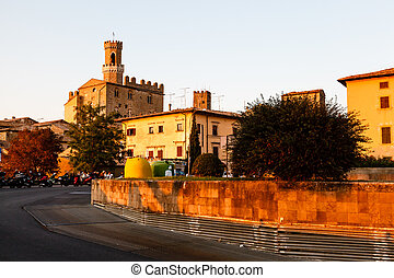 Sunset in the Small Town of Volterra in Tuscany, Italy