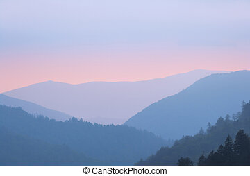 Sunset in the Smoky Mountains National Park, Tennessee, USA